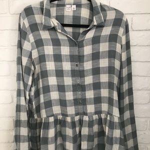 Peplum checkered flannel